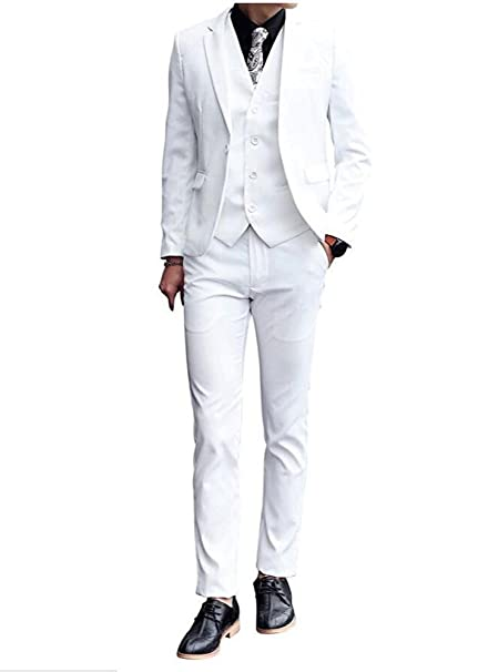 Amazon.com: Un botón color blanco solapa de pico boda trajes ...