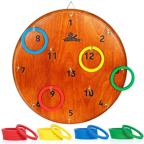 Halloween Ideas For 4 Guys (WishaLife Ring Toss Game for Kids and Adults | Indoor - Outdoor Hook Board Ring Toss | Fun Family Backyard Games | 4 Color Ring Set for 4 Player Game(Random)