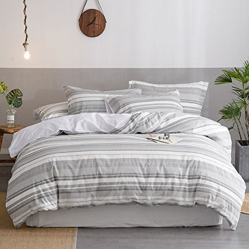 Merryfeel Cotton Duvet Cover Set,100% Cotton Yarn Dyed Duvet Cover with 2 Pillowshams - Full/Queen