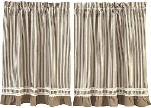 VHC Brands Farmhouse Kitchen Window Curtains-Kendra Stripe White Tier Pair, L36 x W36, Black