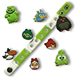 Jibbitz for Crocs Shoes by Nenistore| Cute Shoe Charms Plug Accessories for Crocs & Bracelet Wristband Party Gifts| Angry Birds (Set of 8 pcs) & 01 Silicone Wristband 7 Inches