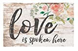 Cheap Love is Spoken Here Floral Whitewash 17 x 10.5 Wood Pallet Wall Plaque Sign