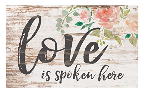 P. Graham Dunn Love is Spoken Here Floral Whitewash 17 x 10.5 Wood Pallet Wall Plaque Sign