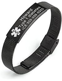 Stainless Steel Mesh Bracelets Medical ID Bracelet for Men and Women,Length Adjustable