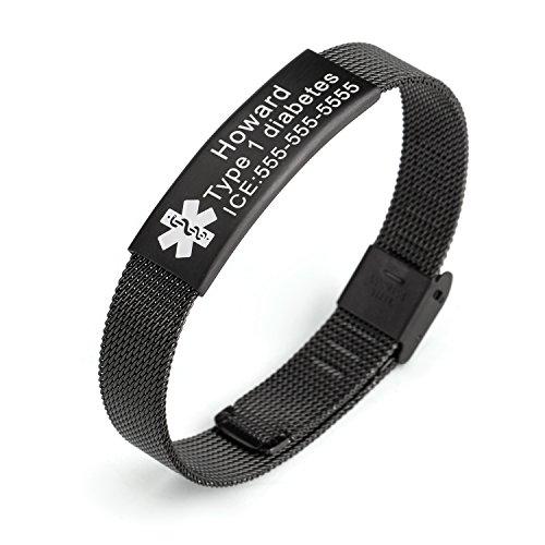 Engravable Id Bracelet (Stainless Steel Mesh Plating Black Medical ID Bracelet for Men and Women,Length Adjustable)