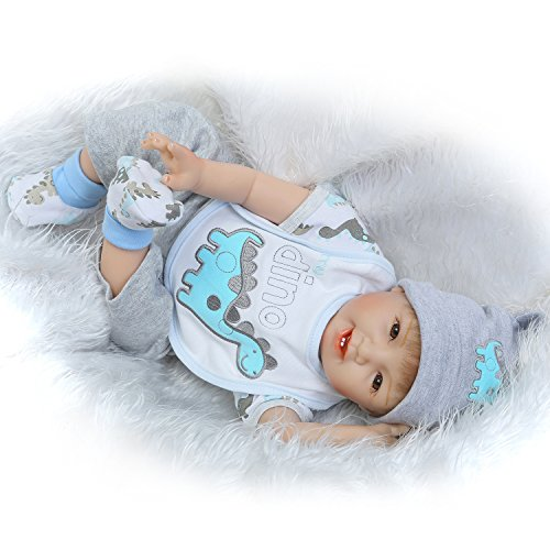 Pursue Baby Cute Soft Silicone Vinyl Lifelike Poseable Baby Doll with Hair My Dino, 22 Inch Realistic Weighted Newborn Baby Infant Doll with pacifier Cuddle for - Glasses Fake Real Looking
