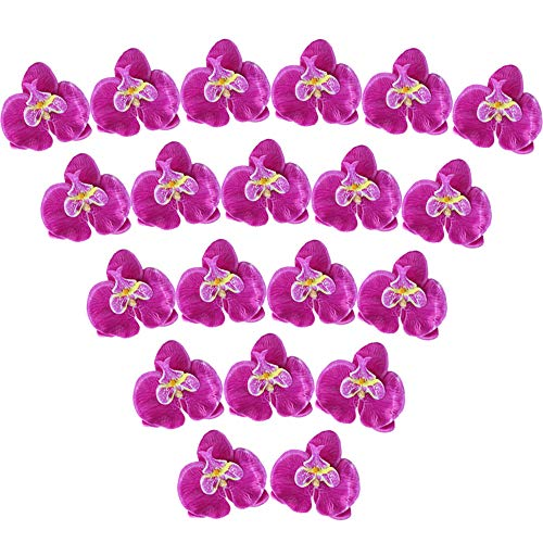 XYXCMOR FakeOrchids 20pcs Silk Orchids Heads Artificial Phalaenopsis Flowers for Bridal Hair Accessories Wedding Home Table Decor Purple