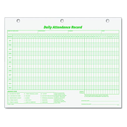 TOPS 3284 Daily Attendance Card, 8 1/2 x 11 (Pack of 50 (Record Cards)
