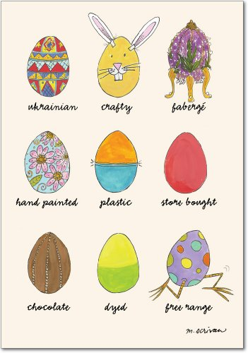7273 'Egg Types' - Funny Easter Greeting Card with 5