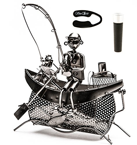 Fisherman Sitting on Boat with a Dog Holding a Fishing Rod Trying to Catch Some Fish , Tabletop Wine Bottle Holder Presenter Plus a Wine Foil Cutter and a Wine Vacuum Stopper Fish Metal Wine Rack
