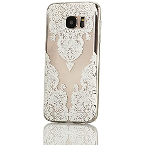 Galaxy S7 Case, Weline White Triangle Flower Pattern Ultra Thin Crystal Clear Rubber Gel Scratch Resistant TPU Sales