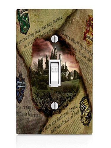 Hufflepuff Gryffindor Hogwarts Slytherin Ravenclaw Newspaper Design Pattern Print Light Switch (Slytherin Symbol)