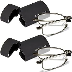 Marc De Rez Foldable Reading Glasses +2.50-2 Pack - Mini Flip Top Cases - Gunmetal Grey Folding Prescription Readers For Men and Women