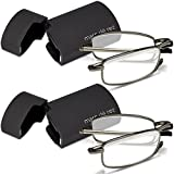 Marc De Rez Foldable Reading Glasses +2.50-2 Pack - Mini Flip Top Cases - Gunmetal Grey Folding Prescription Readers For Men and Women