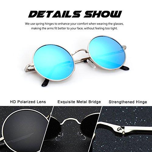 CGID E01 lunettes de soleil polarisées inspirées du style retro vintage Lennon en cercle métallique rond 7LUPSyedR