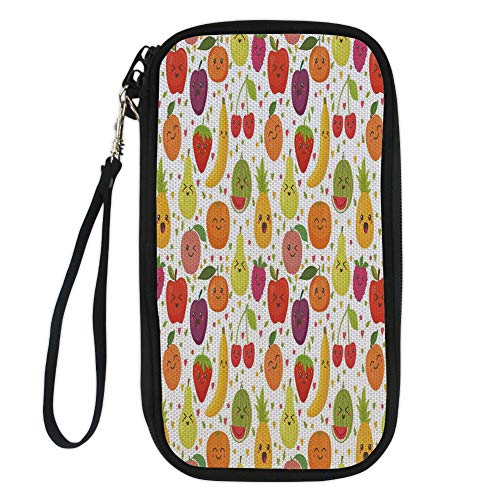 iPrint Fruits,Smiling Banana Funny Mulberry Happy Apricot Peach Hearts Lemons Kids Nursery Theme,Multicolor for Women Canvas Document Organizer Clutch (Mulberry Clutch)