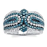 Sterling Silver 1.25ct Blue and White Diamond Multi Row Ring