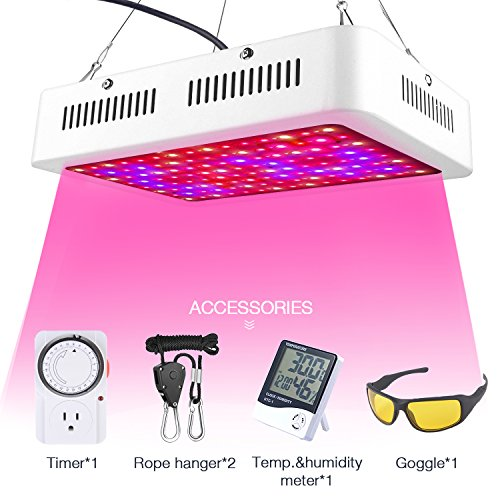 HOMENOTE Led Plant Grow Light for Indoor Plants, 1000W Grow Lamp with Thermometer Humidity Monitor, Adjustable Rope and Goggle, Full Spectrum Plant Light for Flower All Phases of Plant Growth by HOMENOTE