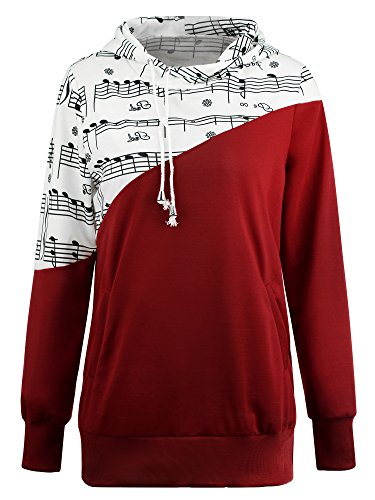 Payeel Women's Music Notes Printed Color Bloack Pullover Hoodies (Red, (Red Music Note)