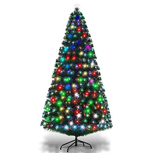 Goplus 7FT Pre-Lit Artificial Christmas Tree Optical Fiber 8 Flash Modes W/...