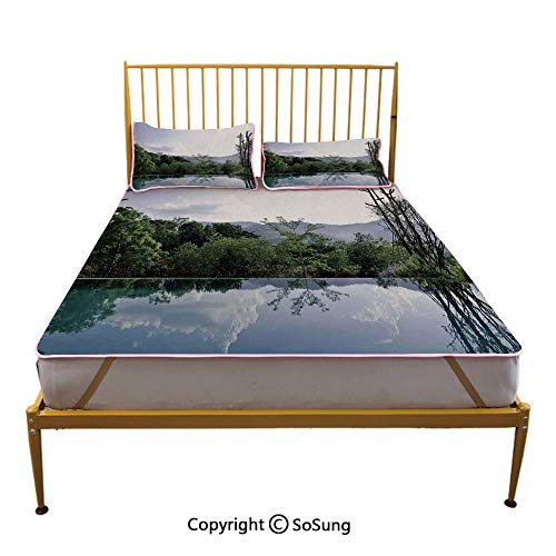 House Decor Creative Full Size Summer Cool Mat,Cloud and Tree Reflections on The Infinity Pool Forest Distant Hills Getaway Sleeping & Play Cool Mat,