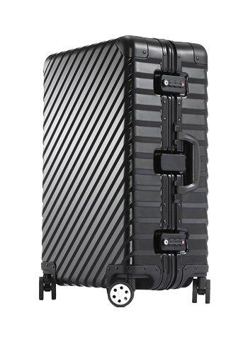 [OCCA-L'armatura] スーツケース アルミボディ キャリーケース キャリーバッグ キャリーバック 小型 中型 大型 Lサイズ Mサイズ Sサイズ ダブルキャスター TSAロック ダイヤル式 修学旅行 出張 ビジネス 国内旅行 海外旅行 B01MYU9GMU L|ブラック ブラック L