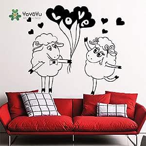 yaoxingfu Arte Home Cartoon Cute Love Sheep Etiqueta de la Pared ...