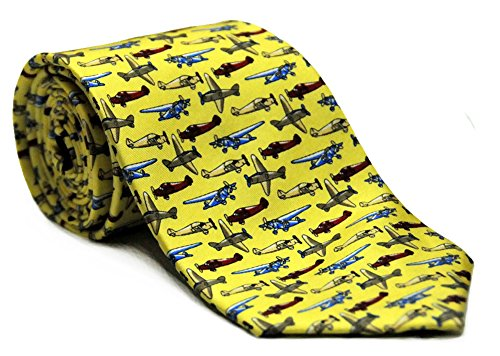 Airplane Silk Twill Novelty Tie (Yellow)