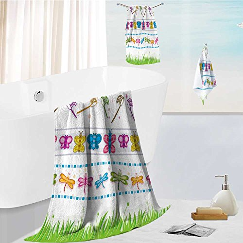 Beach Towels set four border designs of various insects and grass vector 3D Printing For Both Adults And Kids
