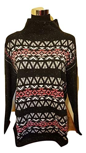 Chaps Quality Fair isle Nordic Knit Sweater - Black - Large