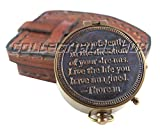 Vintage Maritime Unique Design Magnetic Navigation Nautical Instrument with Leather Case Antique Brass Quote Compass by''Thoreau'' Halloween Gift Xmas Gift Collection