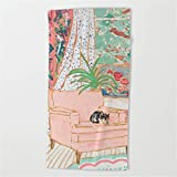 Feesoz Catnap - Tuxedo Cat Napping in Chair by The Window Beach Towel 31x51 Inches