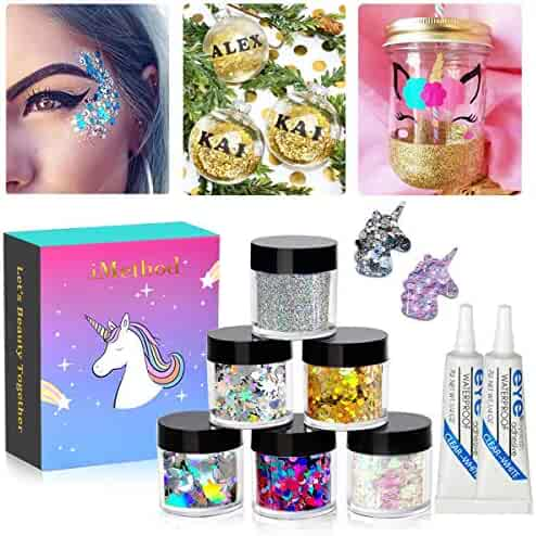 Body Glitter by iMethod - 6 Jars Holographic Glitter, including Fine Glitter & Chunky Glitter, for Festival & Holiday Makeup, DIY Christmas Glitter Ornaments