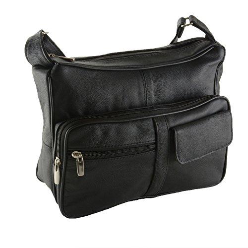 Women's Genuine Leather Cross Body Shoulder Strap Organizer Purse Black (Crossbody Bag Built In Wallet)