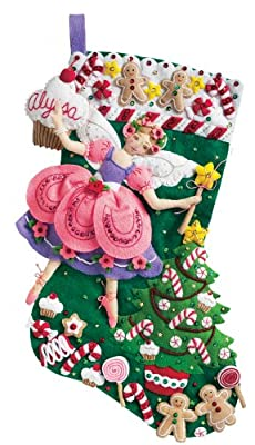 Bucilla 18-Inch Christmas Stocking Felt Applique Kit, 85431 Sugar Plum Fairy by Plaid Inc