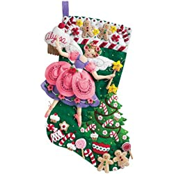 Bucilla 18-Inch Christmas Stocking Felt Applique Kit, 85431 Sugar Plum Fairy