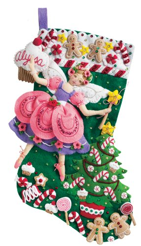 Bucilla 18-Inch Christmas Stocking Felt Applique Kit, 85431 Sugar Plum Fairy (Sugar Plum Fairy Stocking)