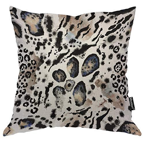 Moslion Leopard Pillows Wild Animal Tiger Lion Snake Leo Skin Fur Spots Stripes Throw Pillow Cover Decorative Pillow Case Square Cushion Accent Cotton Linen Home 18x18 Inch