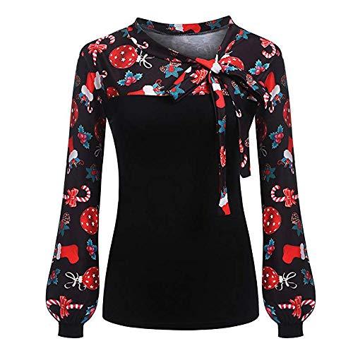 HGWXX7 Christmas Tops for Women Bow Print Lantern O-Neck Long Sleeve T-Shirt - Ugly Shirt T Americans