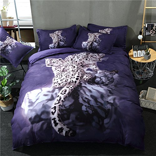 (Goldeny P013 Cool Snow Leopard Printed Bedding Sets Animal 3pcs with 1 Duvet Cover 2 Shams Gift for Boys Juniors Kids (Single 3pcs))