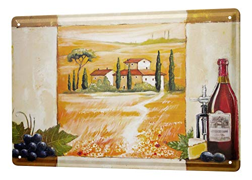 Metal Tin Sign Arkadiusz Warminski Picture Tuscany Country House Scenery red Wine Grapes Bottle of Cheese 8x12 Inch Wall Decor