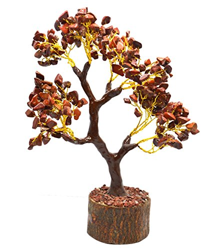 Healing Crystals India Traditional Natural Gemstone Spiritual Money Tree w/Feng Shui 8 Inch, 300chips - Red Jasper