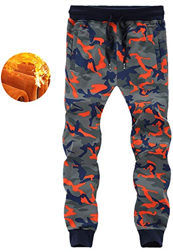 Flygo Men's Camo Jogger Pants Fleece Lined Gym Athletic Sweatpants (X-Large, Orange Camo (Thick)) (Camo Mens Sweatpants Orange)