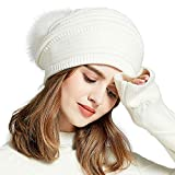 SOMALER Womens Beanies Slouchy Winter Knit Skull Cap Beanie hat Faux Fur Pom pom Chunky Baggy Hat 3 Colors