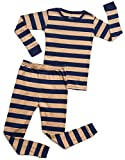 Leveret Striped 2 Piece Pajama Set 100% Cotton (18-24 Months, Navy & Beige)