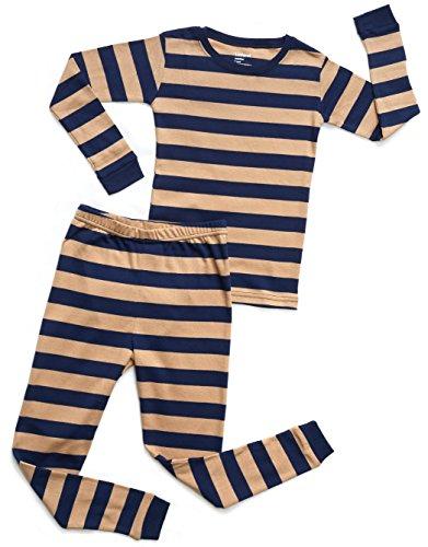 Leveret Striped 2 Piece Pajama Set 100% Cotton (5 Years, Navy & Beige)