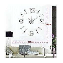 Vanki Modern Mute DIY Large Wall Clock 3D Sticker Home Office Decor Silver 1pcs