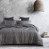 Wake In Cloud - Gray Duvet Cover Set, 100% Cotton Bedding, Chevron Herringbone Geometric Modern Pattern Printed on Grey Zipper Closure (3pcs, Queen Size)