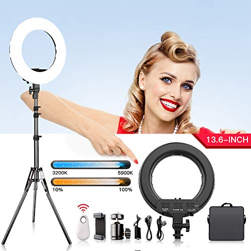 Ring Light, FOSITAN 13.6 inch Outer/8.6 inch Inner LED Light Ring with Stand for Phone and Camera 3200K-5900K 384 LED Bi-Color Brightness Dimmable Halo Light Circle Light for Make-up YouTube Video