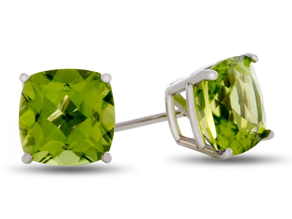 7x7mm Cushion Peridot Post-With-Friction-Back Stud Earrings 10 kt White Gold